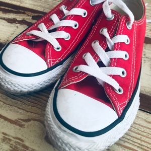 Red converse kids shoes